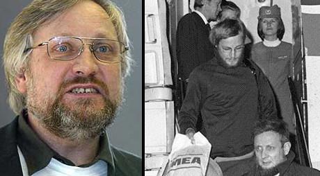 Lars Gule, till höger då han kom hem till Norge efter att ha suttit i libanesiskt fängelse.