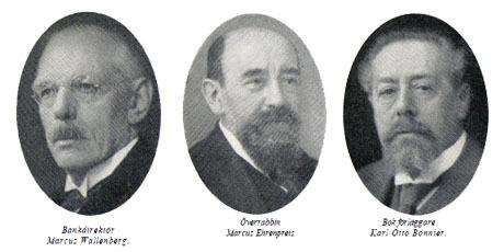 """Redan på 1930-talet pekades dessa figurer ut som """"Sverige hemliga styresmän"""": Bankdirektör Marcus Wallenberg, Överrabbin Marcus Ehrenpreis, Bok förläggare Karl Otto Bonnier. Läs mer här."""