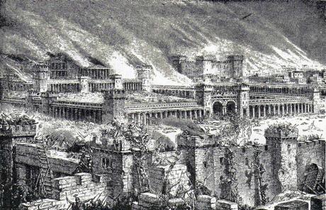 Templet i brand. En bild ur äldre bibelverk, av Salomos tempel i Jerusalem i brand 71 eft. Kr. Man observere den starktbefästade ringmuren samt de ävenså till försvar inrättade väldiga börs- och bankbyggnaderna i det inre.