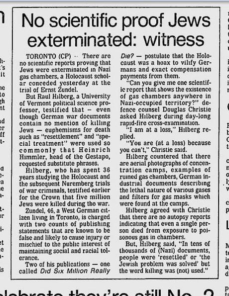 """Det existerar ingen obduktionsrapport som styrker att en (1) enda människa gasades i tyska koncentrationsläger -- """"Förintelsen"""" saknar helt tekniska bevis. Artikel publicerad i The Montreal Gazette, den 18 januari 1985."""