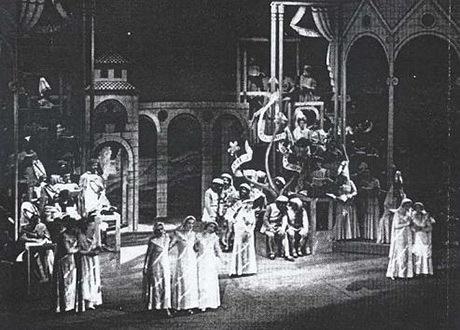 Bild från uruppförandet av Carmina Burana i Frankfurt 1937.