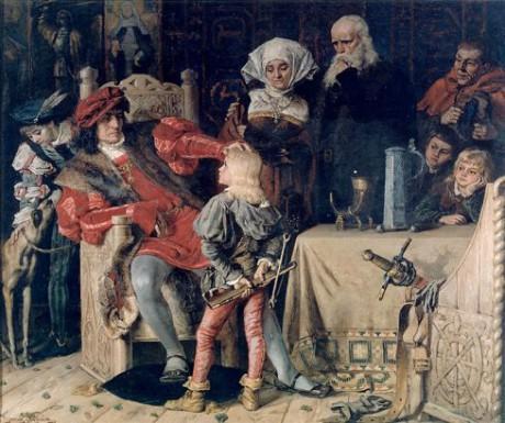 Gustav Vasa som barn inför kung Hans.