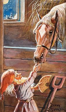Tomte matar häst i stall.