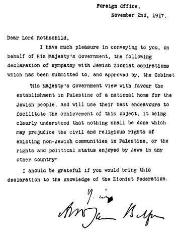 Den 2 november 1917 adresserar den brittiske utrikesministern Arthur James Balfour den judiska bankiren lord Walter Rothschild.