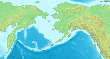 Berings hav med Kamtjatka och Alaska.