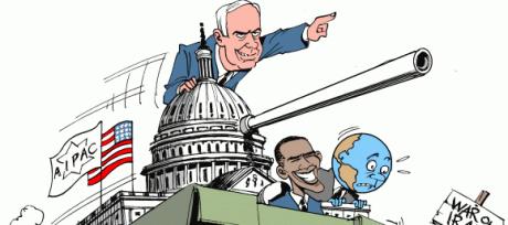 Satirteckning gällande amerikansk-judisk krigshets.