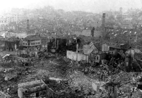 Stråket Nøstet i Bergen centrum efter bombningen.