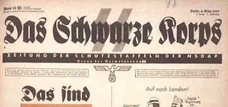 Lösedel från Das Schwarze Korps under 1937. (Klicka för större.)