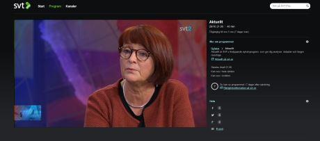 Ingrid Frisk. Skärmdump från SVT Play.