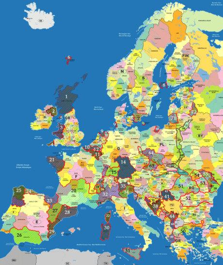 Områdena som är markerade är sådana som med separatistiska tendenser. Tendenserna är starka bland annat i länder som Irland, Ukraina, Skottland, Spanien, Belgien och Italien. Klicka för större bild.