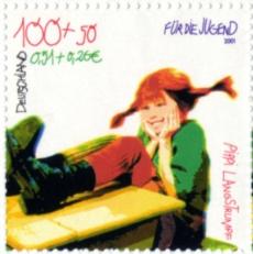 Pippi Långstrump på tyskt frimärke.