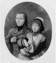 Johannes Bückler med sin hustru Juliana Bläsier och deras barn Franz Wilhelm.