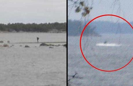 """Till vänster: En """"vadande man"""" som både Säpo och MUST jagade under ubåtsjakten. Senare visade det sig vara Ove, en fritidsfiskande pensionär. Till höger: Den gryniga bilden som tagits på okänd plats sägs av Försvarsmakten vara ett av """"bevisen"""" för att en ubåt kränkt svensk farvatten."""