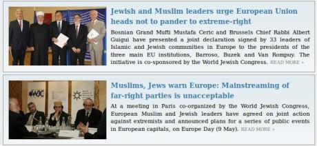 Två nypublicerade artiklar från World Jewish Congress hemsida. Judar enade sida vid sida med islamister -- tillsammans uppmanar de Europas frimurar- och marionettpolitiker att motarbeta vita européer.