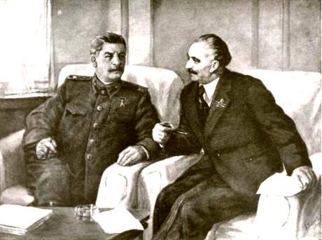 Josef Stalin och Georgi Dimitrov.