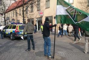 Offentlig flygbladsutdelning i Kristianstad