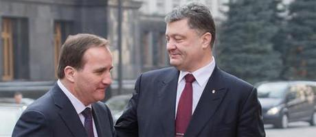 Ukrainas judiske president Petro Porosjenko tillsammans med Bilderberg-deltagaren Stefan Löfven.