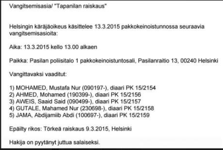 De misstänkta somalierna för den senaste gruppvåldtäkten.