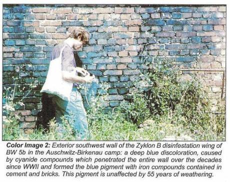 """Den tyske kemisten Germar Rudolf fängslades på grund av att han genomförde tester som motbevisade den officiella historieskrivningen gällande att tyskarna """"gasade judar"""" under andra världskriget. Här syns hur cyanvätet förenat sig kemiskt med cementen i tegelbyggnaden där desinfektion av kläder genomförts."""