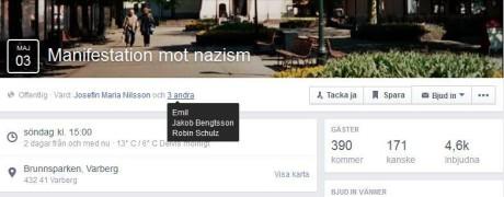 Flera av personerna som media pekar ut är också ansvariga för Facebook-eventet. Klicka för större bild.