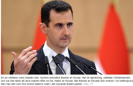 """SVT förklarar för sina läsare redan i början av sin artikel att al-Assad är """"en av världens mest hatade män"""" och att han aldrig skulle ha blivit Syriens president. Skärmdump: svt.se"""