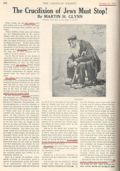 Ett uppslag från en judisk tidning publicerad den 31 oktober år 1919, som talar om 6 miljoner judar i nöd under hotet av en Förintelse. Ett av många exempel, och i ledet av vad judarna då, efter segern i första världskriget och i.o.m Balfourdeklarationen, trodde skulle bli starten för utropandet av ett judiskt hemland i Palestina. Det skulle dock krävas ytterligare ett blodigt världskrig.