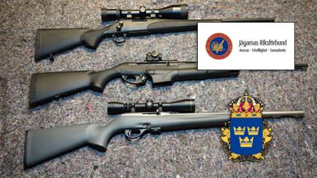 Geväret i mitten är godkänt enligt Naturvårdsverket att nyttja till jakt. Rikspolisstyrelsen och Svenska jägareförbundet motarbetar dock jägares rätt till att inneha det.