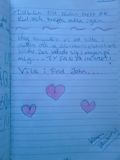 Paulinas dagboksanteckningar från den 22 augusti 1995.