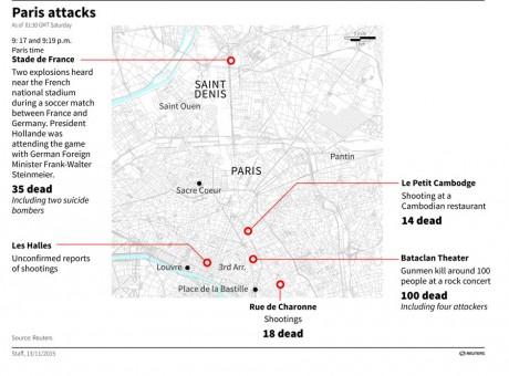 Karta över var terrordåden utfördes. Klicka för förstoring.