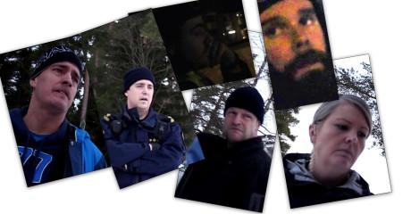 """Polispersonal involverad i """"insatsen"""". Klicka för förstoring."""