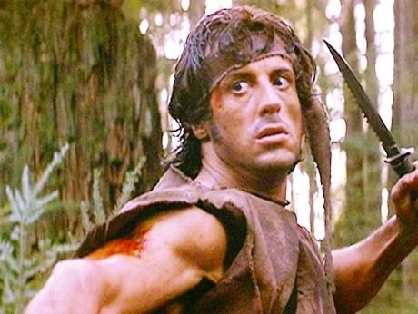 Rambo som vi är van att se honom, gestaltad av Sylvester Stallone.