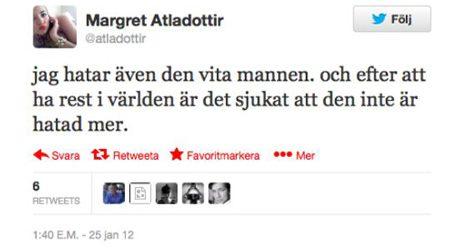 Margret Atladottir hatar via män som grupp.