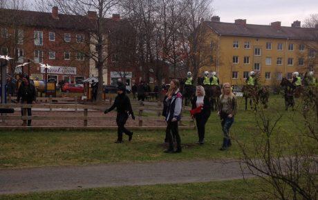 De feministiska stormstyrkornas avancemang kom av sig när polishästarna red in i parken. Om de inte vore för polissvinen så hade feministerna gjort slarvsylta av de 350 nationalsocialisterna.