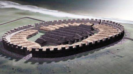 En skiss över hur borgen troligen såg ut under 400-talet.