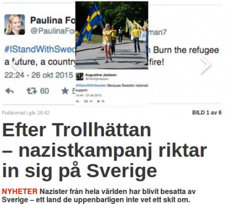 Nyheter24 ägnar sig bland annat åt att manipulera bilder. Här syns exempelvis Nordfrons livstilsredaktör uppmana till att bränna asylförläggningar