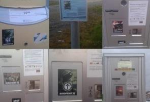 Klistermärken uppsatta i Skellefteå