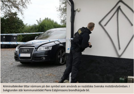 Klotter på Pierre Esbjörnssons husfasad. Foto: Skärmdump från Skånska dagbladet.