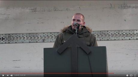 Nordiska motståndsrörelsens ledare Simon Lindberg höll ett väldigt uppskattat tal om enighet i det nationella motståndet.
