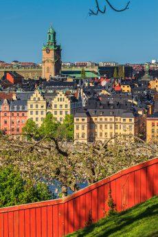 Utsikt över Gamla stan från en park vid Monteliusvägen på Mariaberget på Södermalm i Stockholm