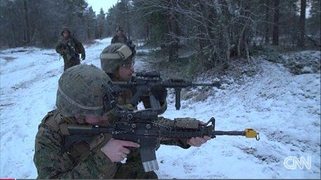 Amerikanska soldater förbereder sig för krig i Norge.