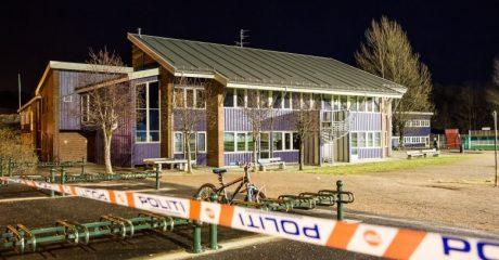 Avspärrningar vid Wilds Minne-skolan i norska Kristiansand.