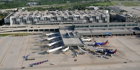 Fort Lauderdale, USA - June 13, 2010: Aerial view of Terminal 1, Fort Lauderdale Hollywood International airport. It is a popular arrival airport for tourist traffic into Florida