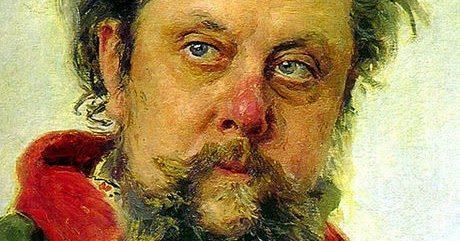 Ett välkänt porträtt av den svårt alkoholiserade Mussorgskij som sägs vara målat bara dagar innan hans död av konstnären Ilya Repin.