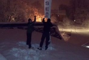 Nattlig banderollaktion i Nyköping