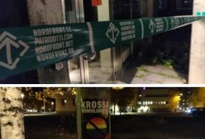 Klistermärkesaktivism och avspärrningar i Luleå