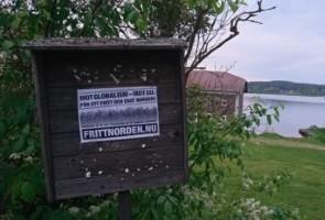 Anti EU-affischering i Ludvika